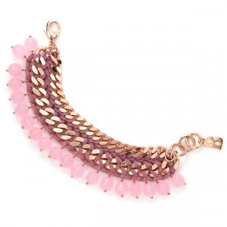 Bracciale in lamè e quarzo rosa