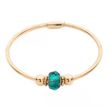 Bracciale rigido rodiato con passante centrale Swarovski color smeraldo