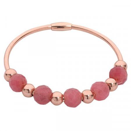 Bracciale rigido placcato oro rosa con giada rubino