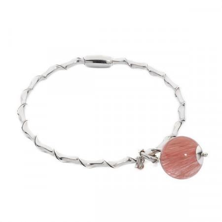 Bracciale rigido con quarzo rosa fragola