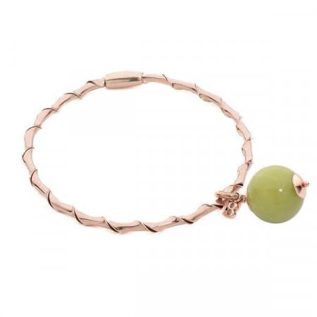 Bracciale rigido con giada color oliva