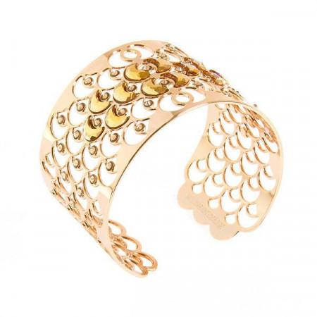 Bracciale rigido placcato oro giallo con decorazione a squame e cristalli
