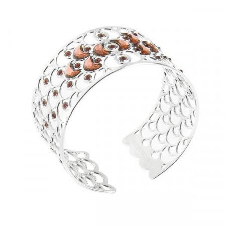 Bracciale rigido con decorazione a squame e cristalli blush rose