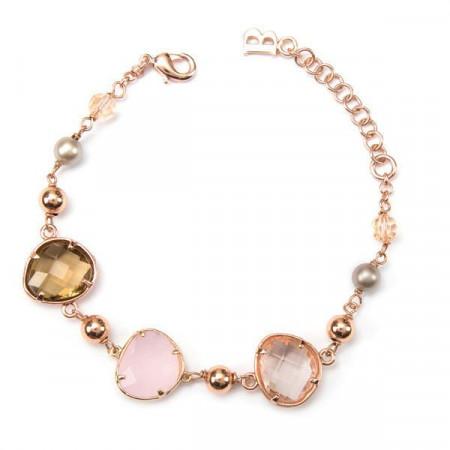 Bracciale placcato oro rosa con cristalli briolette
