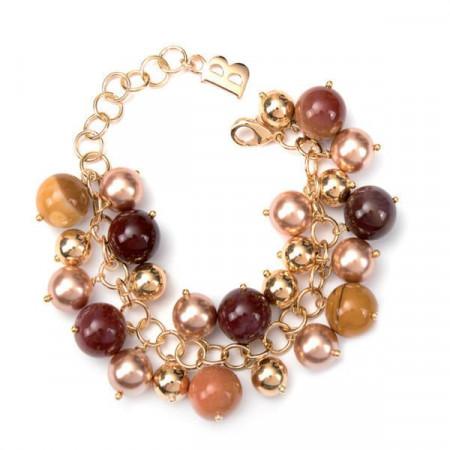 Bracciale con perle Swarovski bronze e pietre dure di diaspro mokaite