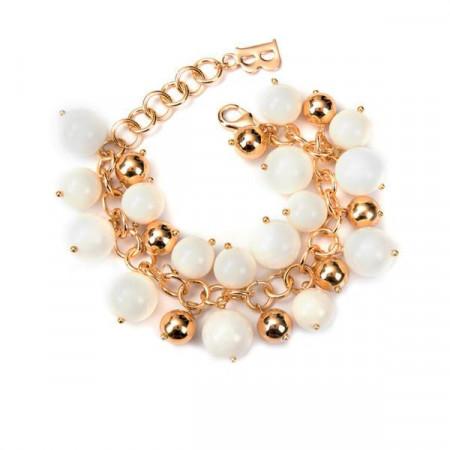 Bracciale con perle Swarovski color avorio e pietre dure di giada avorio