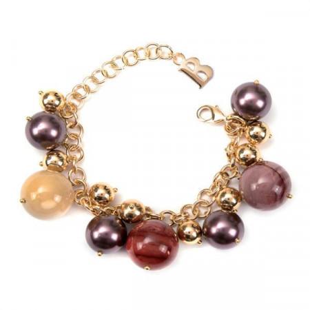 Bracciale con perle Swarovski burgundy e pietre dure di diaspro mokaite