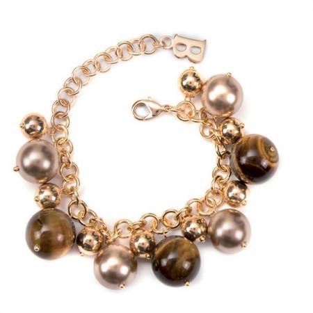 Bracciale con perle Swarovski color platino e pietre dure di occhio di tigre