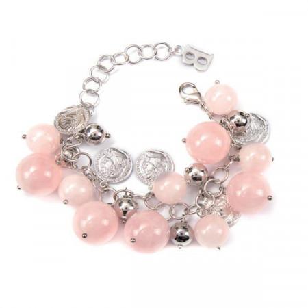 Bracciale con pietre dure di quarzo rosa e monetine portafortuna