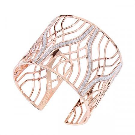 Bracciale rigido placcato oro rosa con decoro ad intreccio e glitter
