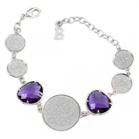 Bracciale con cristalli viola e moduli glitterati