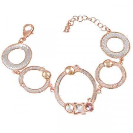 Bracciale rosato con moduli circolari, glittere e Swarovski