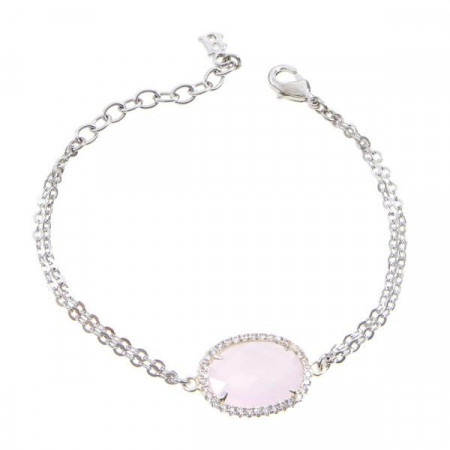 Bracciale con centrale in cristallo briolette rosa e zirconi