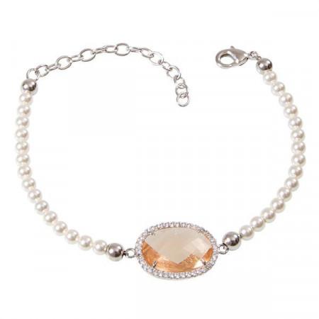 Bracciale di perle Swarovski con cristallo champagne e zirconi