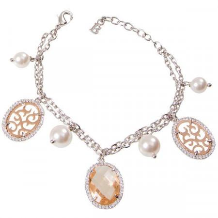 Bracciale con cristallo briolette, zirconi e perle bianche Swarovski