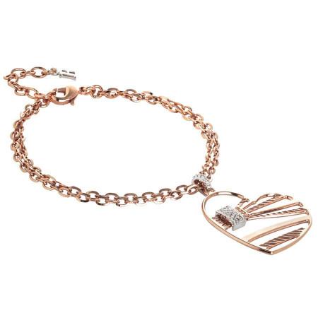 Bracciale doppio filo rosato con pendente a cuore e zirconi