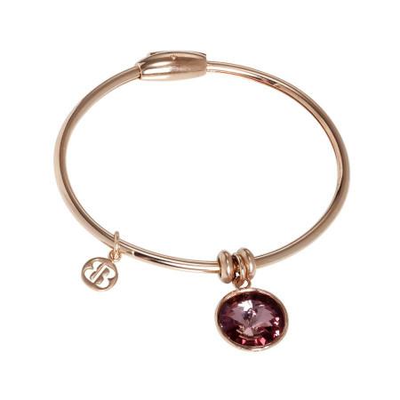Bracciale con charm in cristallo Swarovski antique pink