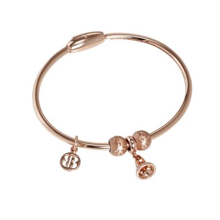 Bracciale placcato oro rosa con charm a forma di campanella in zirconi
