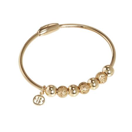 Bracciale placcato oro giallo con sfere lisce e diamantate effetto onda