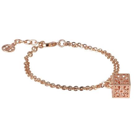Bracciale doppio filo rosato con cubetto pendente e zirconi