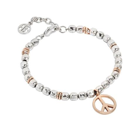 Bracciale beads con segno della pace rosata