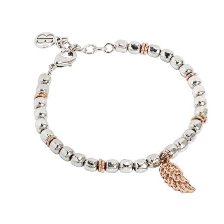 Bracciale beads con ala d'angelo rosata