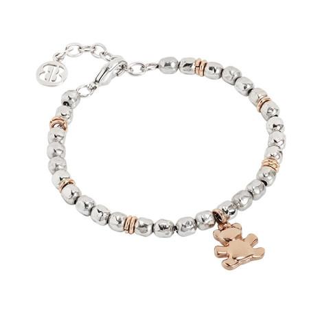 Bracciale beads con orsetto rosato