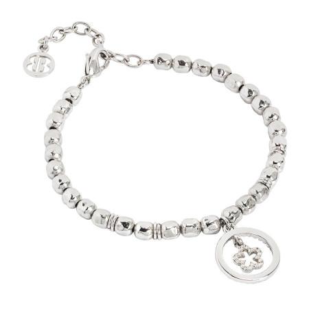 Bracciale beads con fiore zirconato