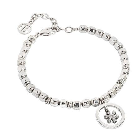 Bracciale beads con fiocco di neve zirconato