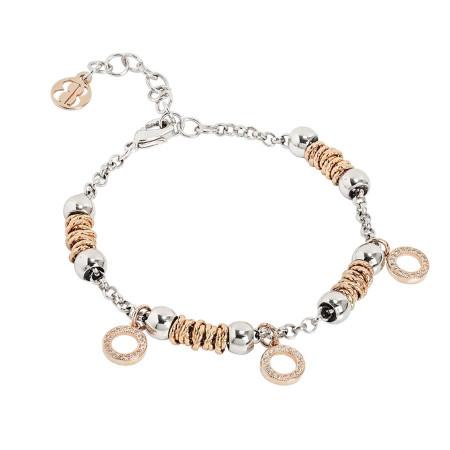 Bracciale beads con cerchi rosati di zirconi