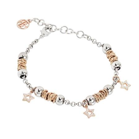 Bracciale beads con stelle rosate di zirconi