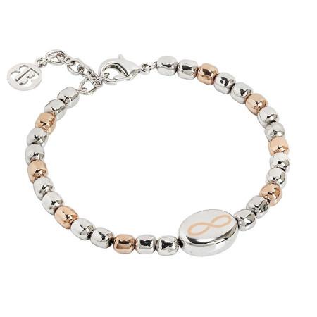 Bracciale beads bicolor con infinito laserato