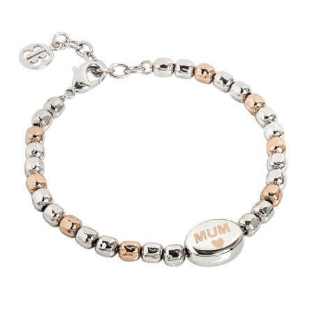 """Bracciale beads bicolor con scritta """"Mum"""" laserata"""