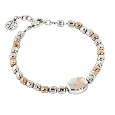 Bracciale beads bicolor con cane laserato