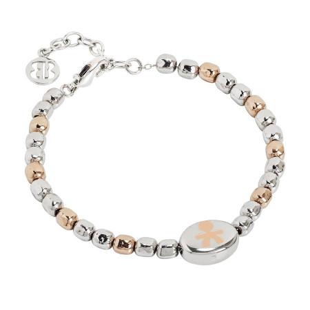 Bracciale beads bicolor con bimbo laserato