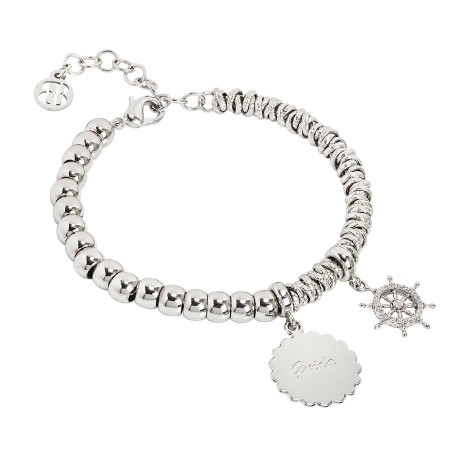 """Bracciale beads con medaglietta """"Guida"""" e timone zirconato"""