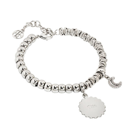 """Bracciale beads con medaglietta """"Vita"""" e luna zirconata"""