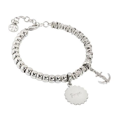 """Bracciale beads con medaglietta """"Forza"""" e ancora zirconata"""