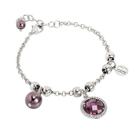 Bracciale con perle Swarovski burgundi e cristallo ametista