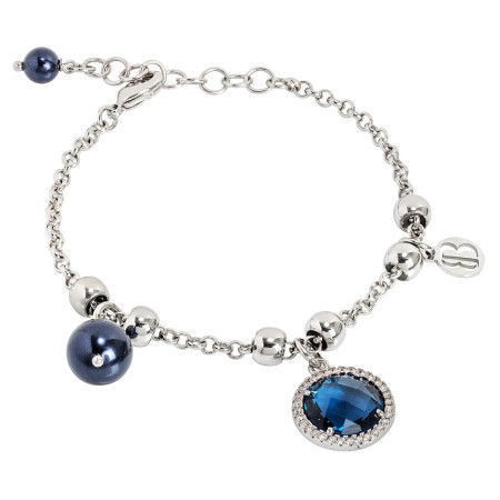 Bracciale con perle Swarovski night blu e cristallo blu London