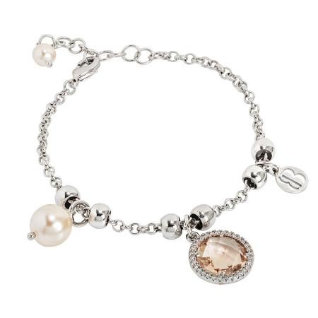 Bracciale con perle Swarovski e cristallo peach