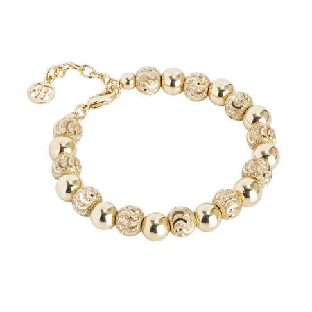 Bracciale con perle dorate e diamantate dall'effetto a onda