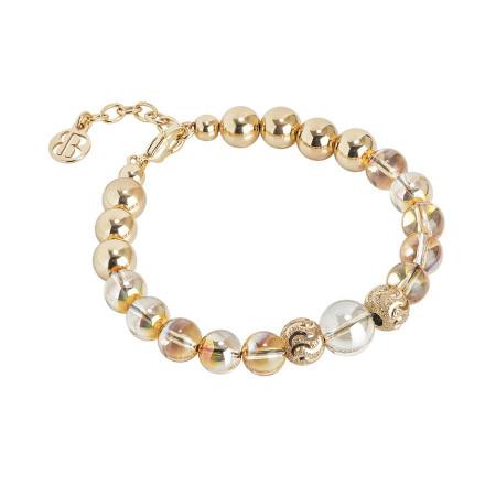 Bracciale dorato con perle Swarovski metallic sunshine