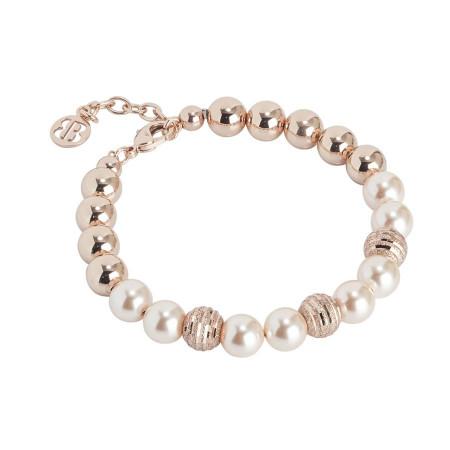 Bracciale con perle Swarovski peach e diamantate