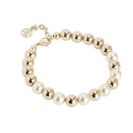 Bracciale dorato con perle Swarovski light gold e sfere lisce