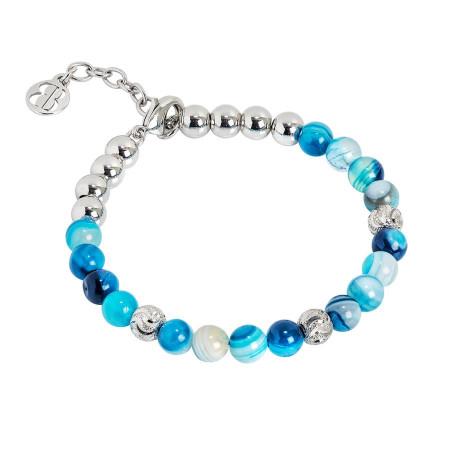 Bracciale con perle di agata mix blu
