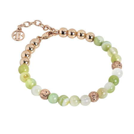 Bracciale con perle di agata light yellow