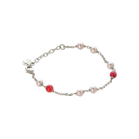 Bracciale con perle Swarovski rosaline e agata fucsia