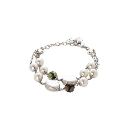 Bracciale doppio filo con perle Swarovski white e agata mix matt