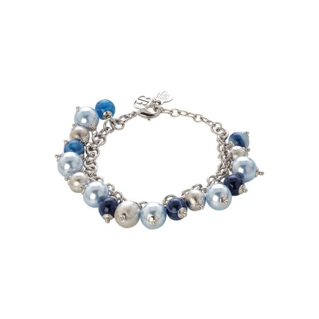 Bracciale con perle Swarovski light blue, agata mix blue e sfere graffiate